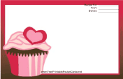 Pink Heart Cupcake Red