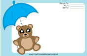 Teddy Bear Blue Umbrella