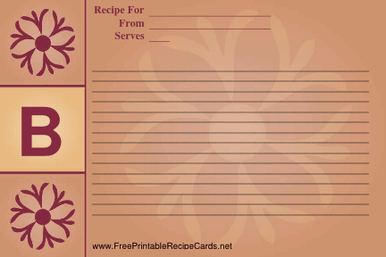 Monogram Recipe Card - B recipe cards