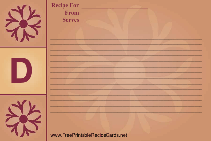 Monogram Recipe Card - D recipe cards