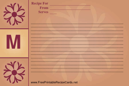 Monogram Recipe Card - M recipe cards