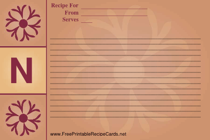 Monogram Recipe Card - N recipe cards