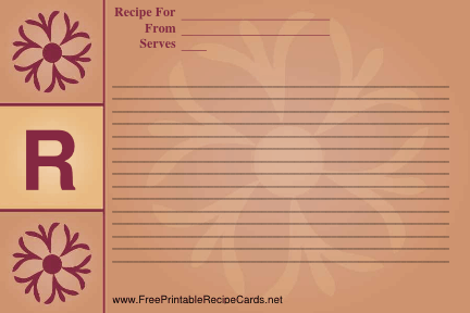 Monogram Recipe Card - R recipe cards