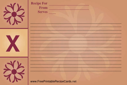 Monogram Recipe Card - X recipe cards