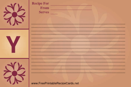 Monogram Recipe Card - Y recipe cards