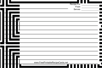 Black White Geometric recipe cards