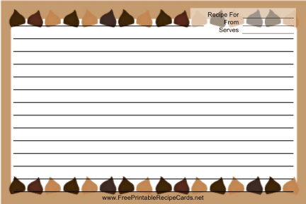 Brown Chocolate Chips recipe cards