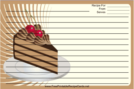 Chocolate Layer Cake Brown recipe cards