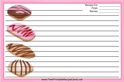 Colorful Cookies Pink recipe cards