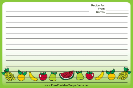 Colorful Fruit recipe cards
