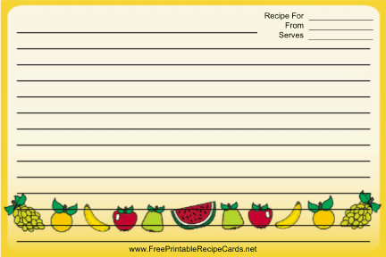 Colorful Fruit Yellow recipe cards