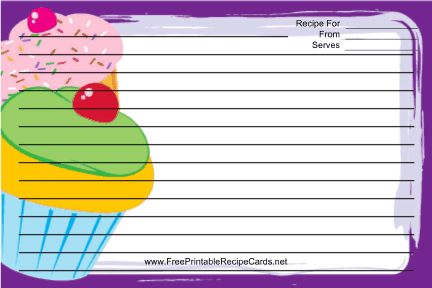 Cupcakes Purple recipe cards