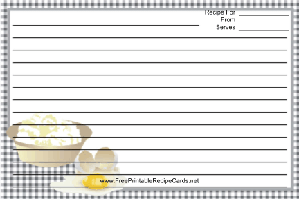 Eggs Black Gingham recipe cards
