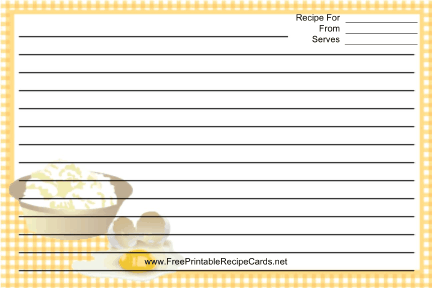Eggs Yellow Gingham recipe cards