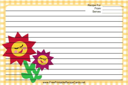 Flowers Yellow Gingham recipe cards
