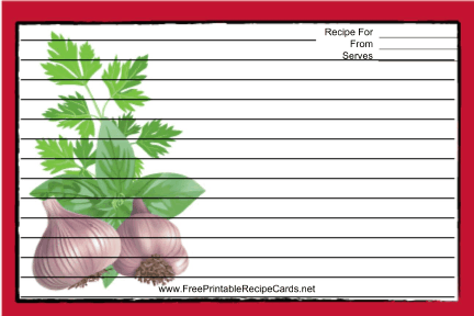 Garlic Red recipe cards