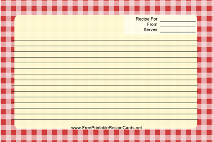 Gingham recipe cards