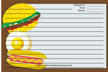 Hamburger and Hotdog recipe cards