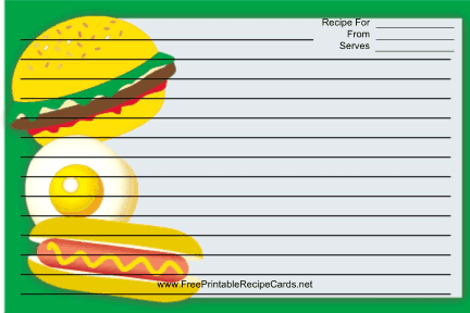 Hamburger Hotdog recipe cards
