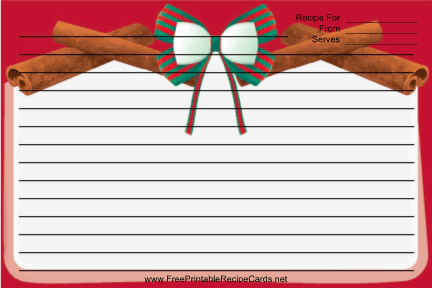Holiday Bow Red recipe cards