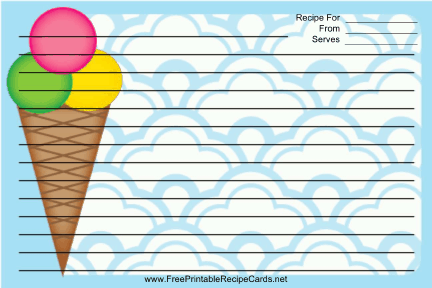Ice Cream Cone Blue recipe cards