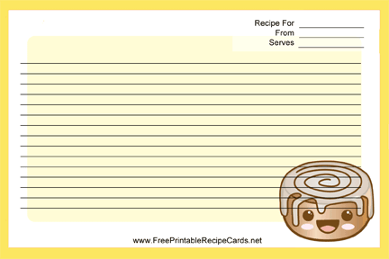 Kawaii Cinnamon Roll recipe cards
