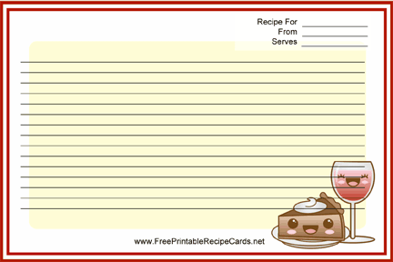 Kawaii Dessert recipe cards