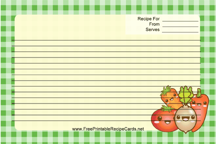 Kawaii Vegetables recipe cards