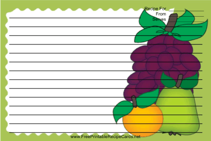 Pear Orange and Grapes recipe cards