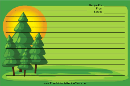 Pine Trees Green recipe cards