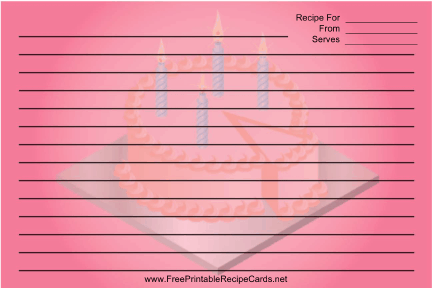 Pink Birthday Cake recipe cards