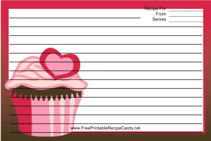 Pink Heart Cupcake Red recipe cards