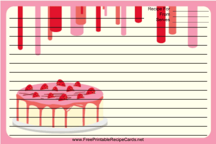 Pink Strawberry Cake recipe cards