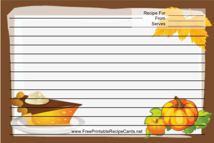 Pumpkins Brown recipe cards