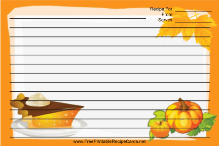 Pumpkins Orange recipe cards