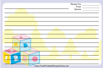Purple Blocks recipe cards