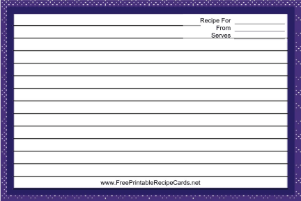 Purple and White Chambray recipe cards