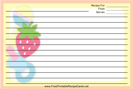 Rattles Pacifiers Yellow recipe cards