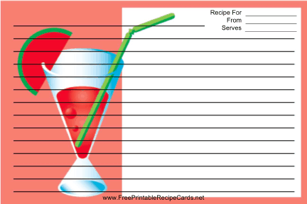 Red Drink recipe cards