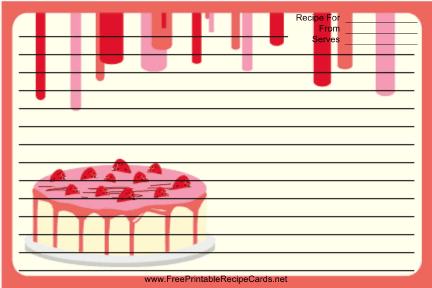 Red Strawberry Cake recipe cards