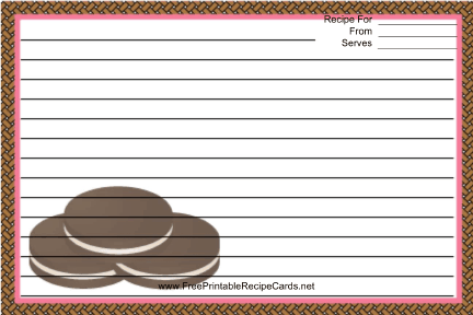 Sandwich Cookies Brown recipe cards