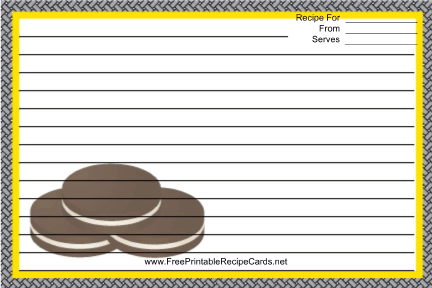 Sandwich Cookies recipe cards