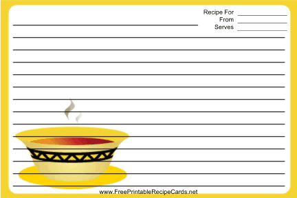 Soup Yellow Border recipe cards