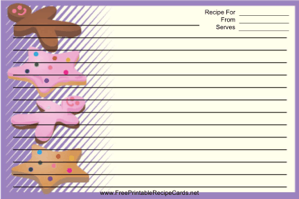 Star Gingerbread Cookies Purple recipe cards