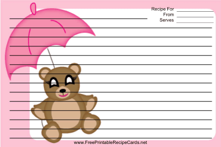 Teddy Bear Pink Umbrella recipe cards