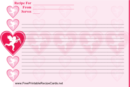 Cupid Valentine recipe cards