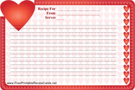 Heart Border Valentine recipe cards
