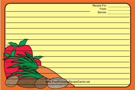 Vegetables Orange recipe cards