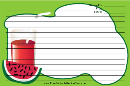 Watermelon Drink Green recipe cards