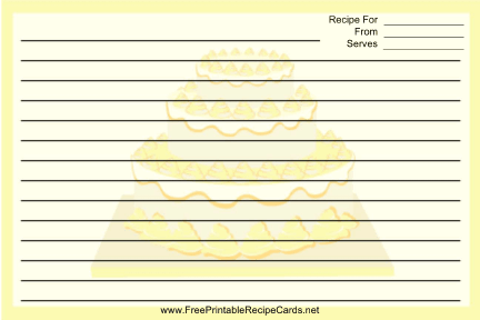 Yellow Tiered Cake recipe cards